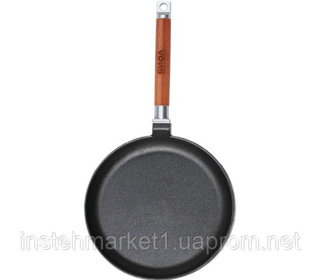 Сковорода блинная БИОЛ 04221 (220х18 мм) чугунная, съёмная деревянная ручка в интернет-магазине