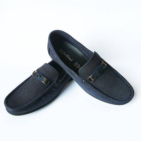 Кожаная мужская rifellini обувь производства Турции : летние мокасины с нубука, темно синего цвета