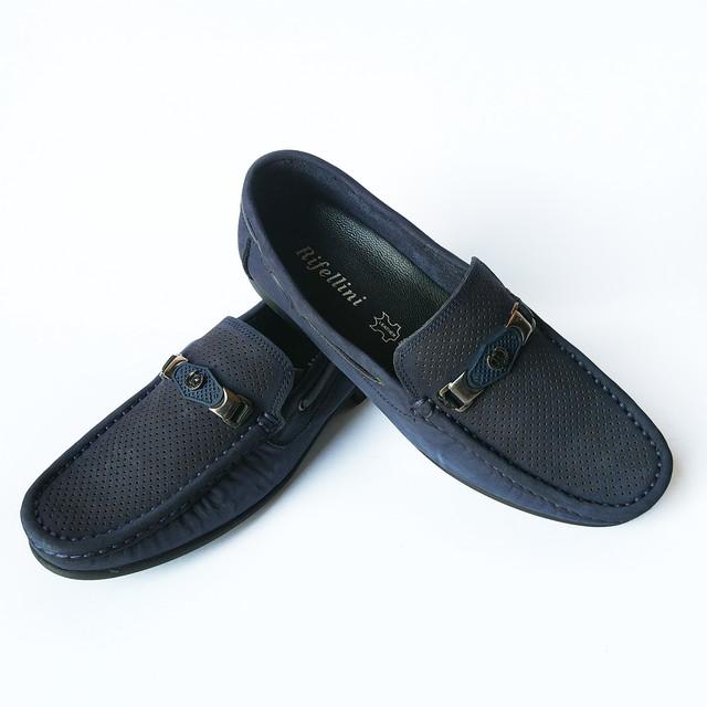 Летняя кожаная мужская rifellini обувь производства Турции мокасины с нубука, темно синего цвета, под ложку