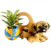"""Статуэтка керамическая """"Собаки с цветами"""" R22302, размер: 20*9*11 см, искусственные цветы, декор, статуэтка из керамики, сувениры, предметы декора"""