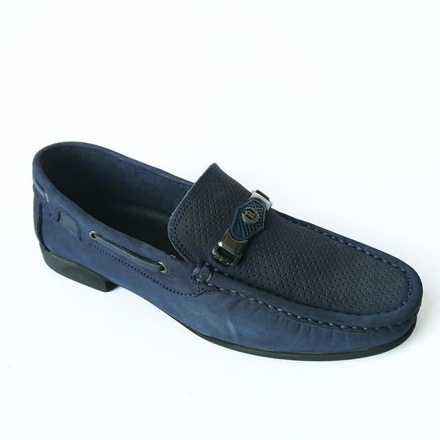 Летняя кожаная мужская rifellini обувь производства Турции мокасины с нубука в дырочку, темно синего цвета с пряжкой