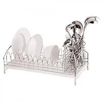 Сушилка для посуды Stenson MH-0851железо, 42х19х12,5 см с поддоном, полка для посуды, полочка для посуды, стойка для посуды, держатель посуды