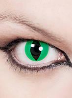 Кошачьи зеленые декоративные контактные линзы