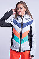 Куртка женская лыжная Оранжевый с бирюзовым