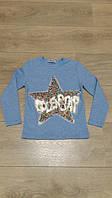 Кофта для девочки 5,6 лет, пайетки звезда, голубая, рост 110-116
