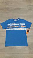 Футболка для мальчика 9-10 лет, Beneti, голубая с оранжевым, рост 134-140