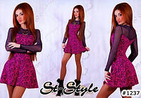 Платье  жаккард 083  YB   рукав сетка, фото 1