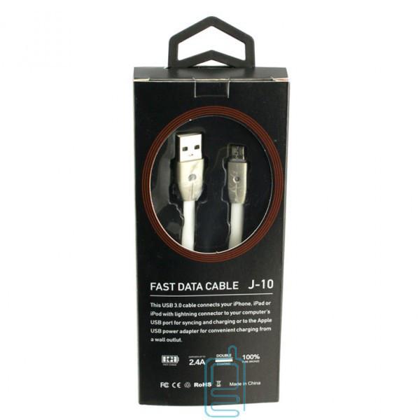 USB кабель 2.4A J-10 Fast Charge micro белый
