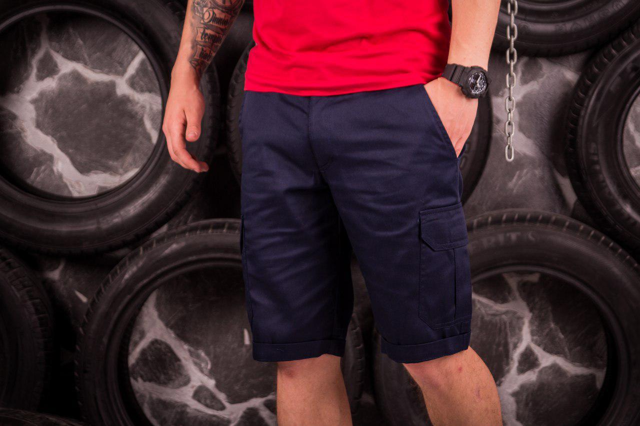 Стильные мужские шорты нави с карманами карго