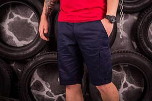 Стильные мужские шорты нави с карманами карго, фото 2