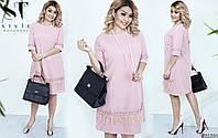 Модное розовое женское платье батал с отделкой из перья марабу.  Арт-6487/52