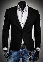 Мужской пиджак на одну пуговицу с вставками из кожи на локтях черный 85312d8e418c1