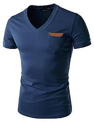 Чоловіча футболка з шкіряною вставкою на кишені, темно-синя