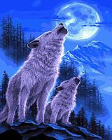 """Раскраска для взрослых и детей """"Волки под луной"""" 40 х 50см , Без Коробки"""