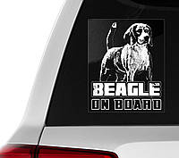 Наклейка на авто / машину Бигль на борту