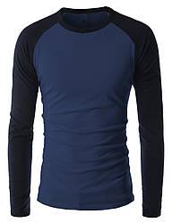 Чоловічий лонгслив синього кольору з рукавами реглан