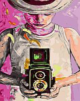 """Раскраска для взрослых и детей """"Девушка фотограф"""" 40 х 50см , Без Коробки"""