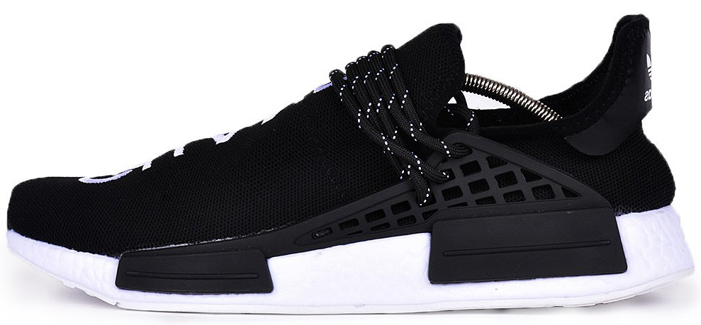 Мужскиекроссовки adidas NMD Human Race Pharrell Williams Black/White (Адидас) черно-белые