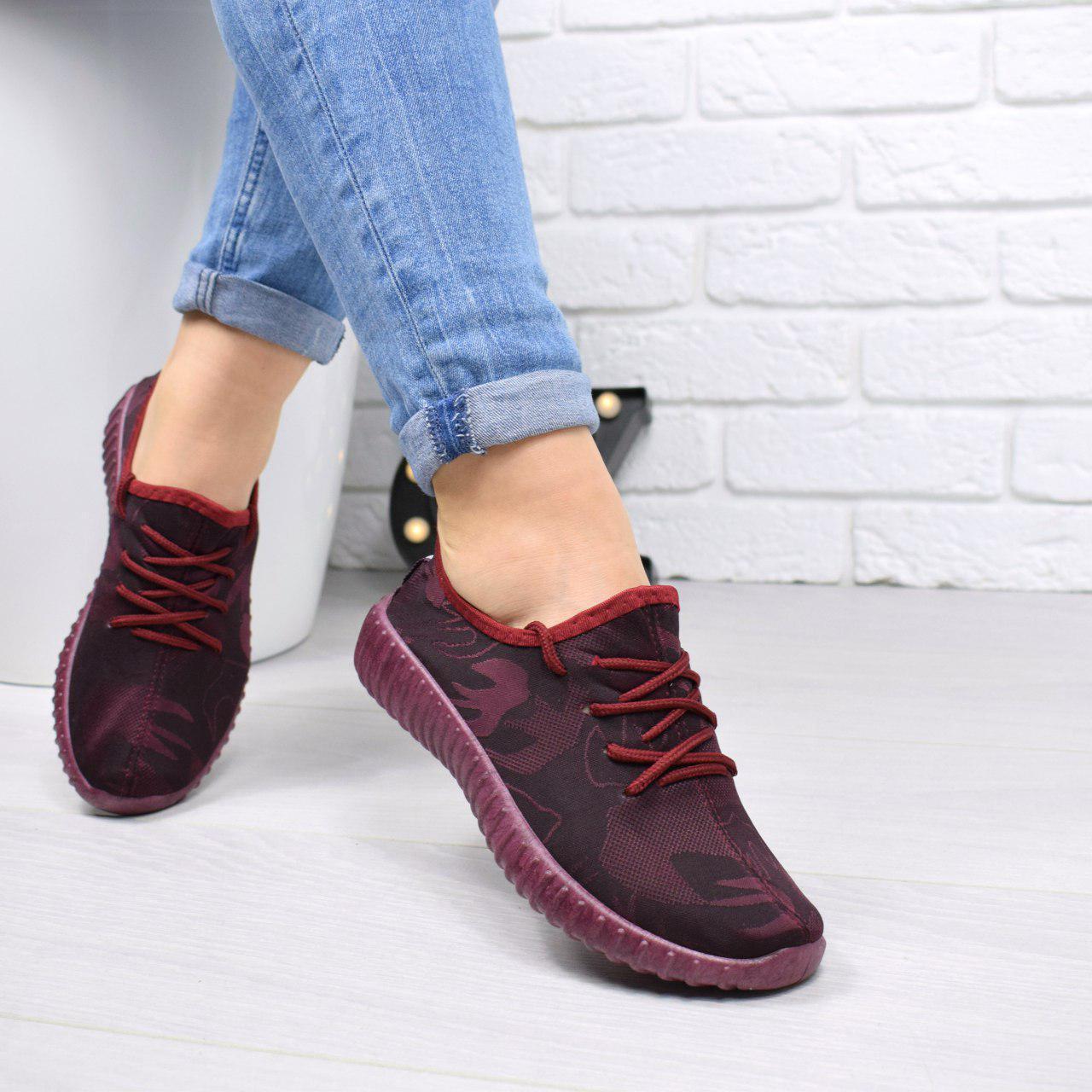 """Кеды, кроссовки, криперы, мокасины женские бордовые """"Flexible"""" текстиль спортивная, повседневная, летняя обувь"""
