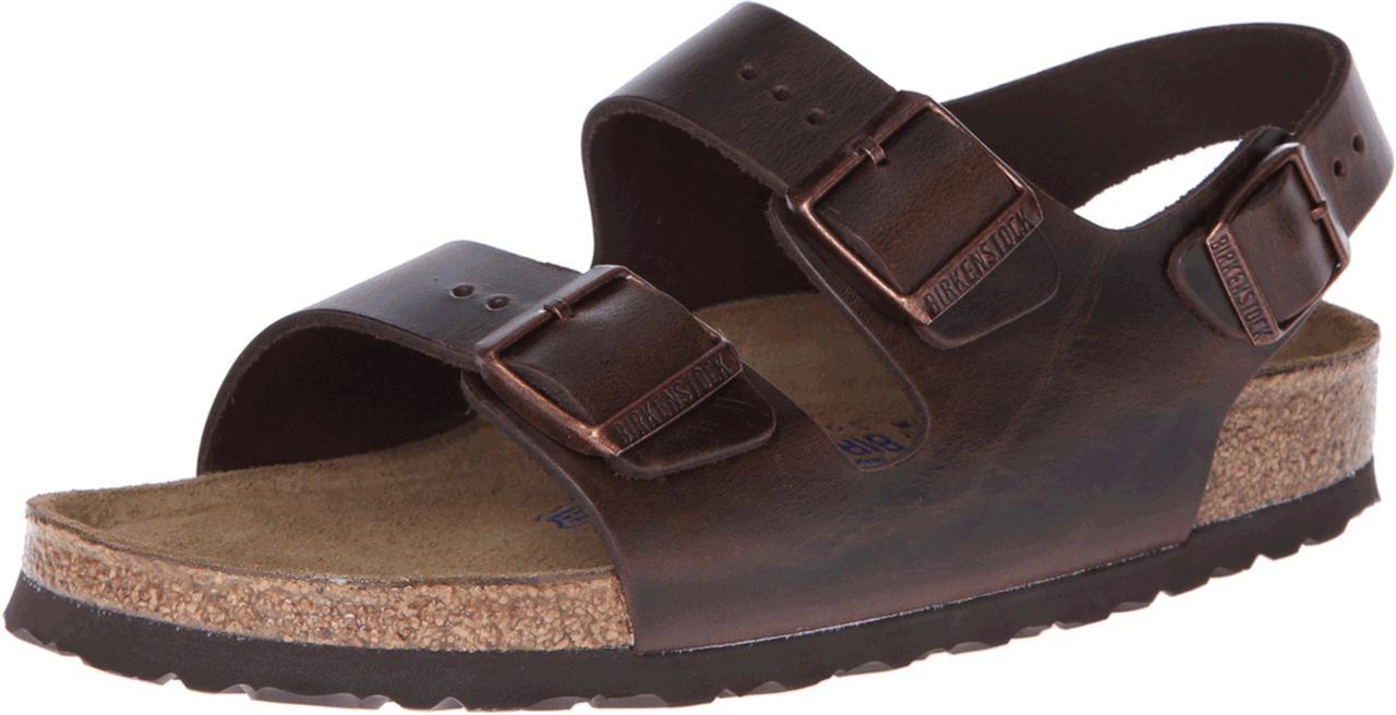 15c8e37ced0 Сандали Вьетнамки (Оригинал) Birkenstock Milano - Leather Soft Footbed  (Unisex) Brown ...