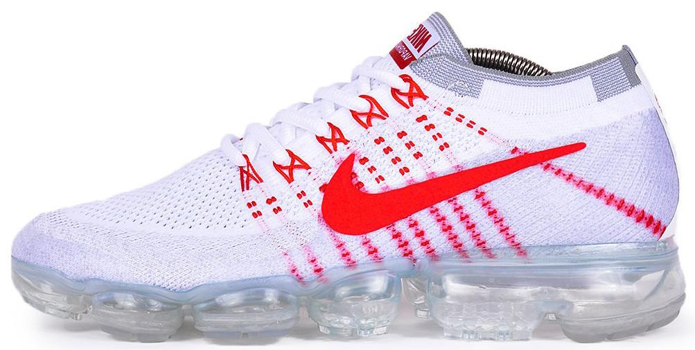 Мужские кроссовки Nike Air VaporMax Flyknit (Найк Аир Макс Флайнит) бело-красные