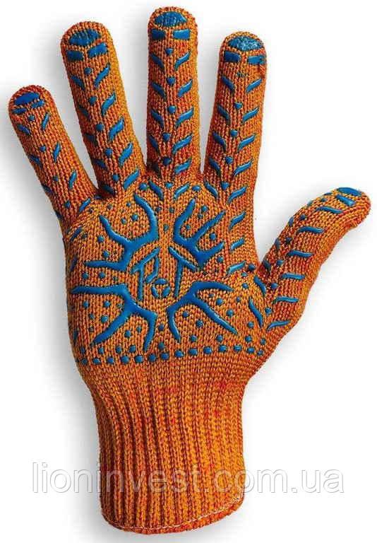 Перчатки рабочие с ПВХ покрытием, оранжевые, артикул 1062