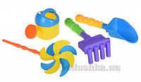 Набор для игры в песочнице Same Toy 4ед с воздушной вертушкой (желтая лейка) HY-1203WUt-2