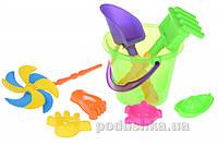 Набор для игры в песочнице Same Toy 8ед с воздушной вертушкой (зеленое ведерко) HY-1207WUt-1