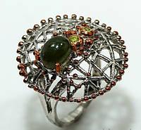 """Оригинальный перстень """"Паутинка """" с  турмалином и хризолитами  , размер 17,5 от студии LadyStyle.Biz, фото 1"""