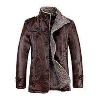 Мужская зимняя кожанная PU куртка