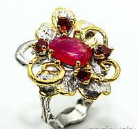 """Оригинальный перстень """"Виноградник """" с рубином и гранатами , размер 18 от студии LadyStyle.Biz, фото 1"""