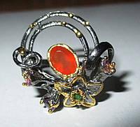 """Оригинальный перстень """"Эдельвейс """" с  карнелианом, аметистом  , размер 18,5 от студии LadyStyle.Biz, фото 1"""