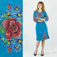 Стильное вышитое платье, габардин, разные цвета, 490/440 (цена за 1 шт. + 50 гр.)