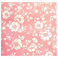 Салфетка Ситчик Цветочки на розовом 33 см