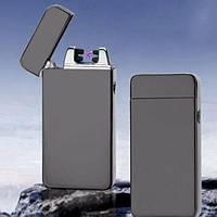 Плазменная электроимпульсная USB-зажигалка двойная дуга Серая