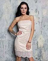 Платье с красивым кружевом и открытыми плечами