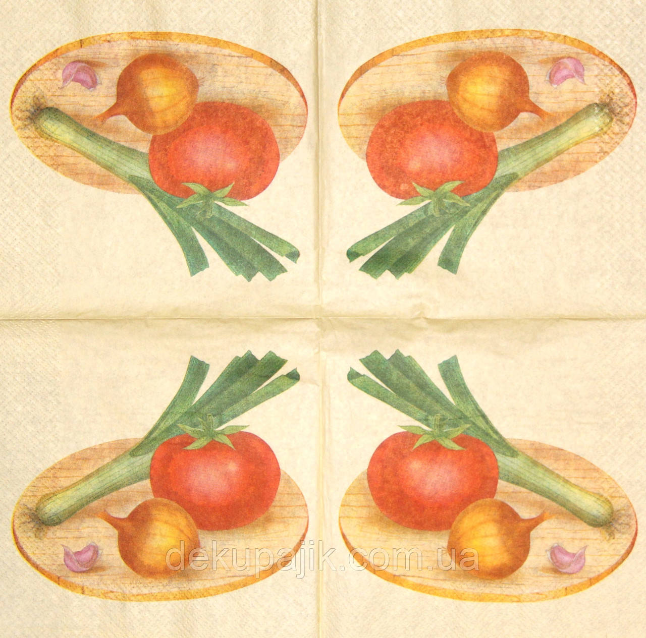 Серветки красиві Помідор, цибулю і часник 498