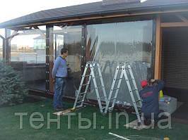 Монтаж прозрачных ПВХ штор на летнюю террасу