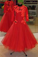 Платье для бальных танцев -бейсик,Red-fat