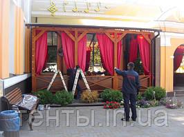 Монтаж мягких окно ПВХ на террасу загородного ресторана