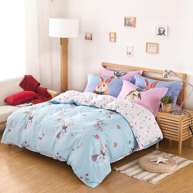 Комплект постельного белья Олень и кролик (двуспальный-евро) Berni Home