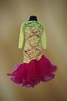 Платье для бальных танцев - латина юниоры 1-2 Yellow - Fl.Red guip - geo