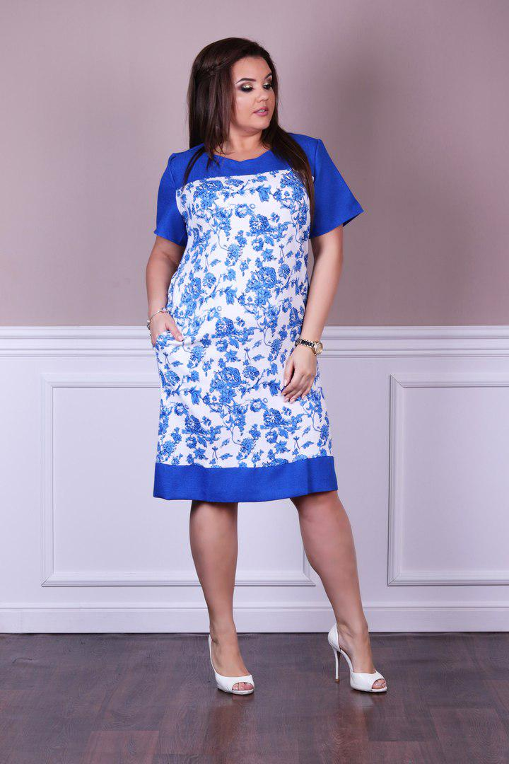 2bb0159d87e Натуральное летнее льняное платье больших размеров до 56-го в цветочный  принт - Стильная женская