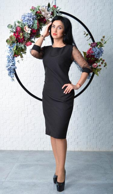 Черное элегантное платье футляр (размер 44-52)