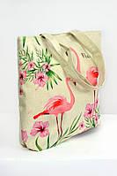 Пляжная женская сумка с принтом Фламинго