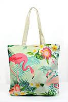 Пляжная женская сумка с принтом Фламинго бирюзовая