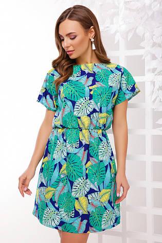 38e5ec0c7695582 Летнее короткое легкое платье приталенное на резинке в яркий принт зеленая  монстера, фото 2