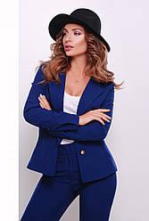 Стильный женский жакет на подкладке с отложным воротником синий