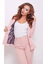 Стильный женский костюмный пиджак отложной воротник цвет пудра
