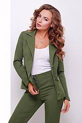 Женский офисный пиджак классического кроя отложной воротник оливковый